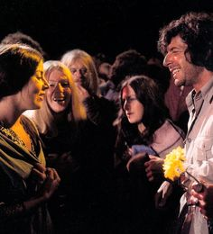 Leonard Cohen with fans at the Isle of Wight, 1970.