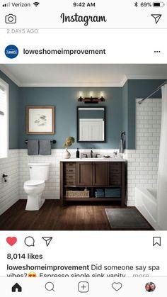 bathroom ideas on a budget ~ bathroom ideas ` bathroom ideas small ` bathroom ideas on a budget ` bathroom ideas modern ` bathroom ideas apartment ` bathroom ideas master ` bathroom ideas diy ` bathroom ideas small on a budget Diy Bathroom, Bathroom Toilets, Bathroom Flooring, Bathroom Interior, Master Bathroom, Bathroom Vinyl, Tile On Bathroom Wall, Bathroom With Wainscotting, Dark Wood Bathroom