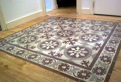 Tiles set in wood Hardwood Floor Colors, Wood Tile Floors, Wall And Floor Tiles, Wall Tiles, Hall Flooring, Unique Flooring, Kitchen Flooring, Encaustic Tile, Vintage Tile