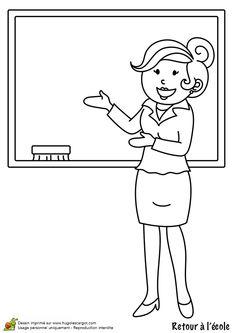 Dessin à colorier d'une maîtresse d'école toute souriante