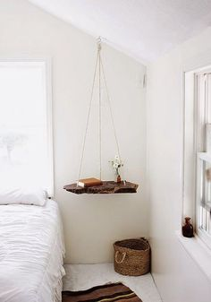 Hanging Bedside table It #bed #bedroom #bohemian #boho #design #hippie #hipster…