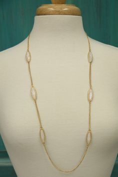 Long Oval Cream Necklace