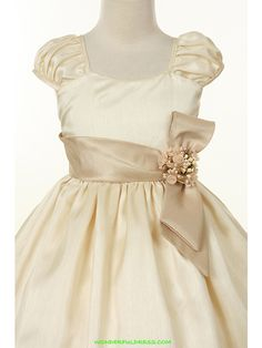 champagne with coral flower girl dresses | FLOWER GIRL - Champagne Poly Shantung Sleeve Girl Dress - Flower Girl ...