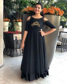 Beautiful Geetha Madhuri in Hlabel for this stunning black dress! Be it any occasion finding the perfect dress is so much easy now with the hlabel .Ride high on style with the most fashionable collection at TheHlabel. Beautiful black color floor  length dress with cold shoulder. Dress with vintage car design hand embroidery work on yoke. Styled by: Rekha Boggarapu. 16 April 2018