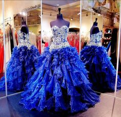 2016 Bling Quinceanera Dresses Sweetheart Crystal Beading Ruffles Tiered Royal Blue Ball Gown Sweet 15 Long Formal Pageant Party Prom Gowns Online with $159.17/Piece on Haiyan4419's Store | DHgate.com