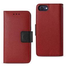 Reiko REIKO IPHONE 7 3-IN-1 WALLET CASE IN RED