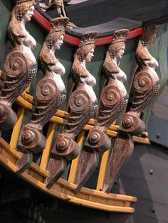 ship bow statues ornaments carved wood
