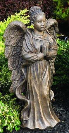 Angel Statue - Lawn Ornament - Angel Woman-Harmony - Concrete - 25 in H. This angel statue can be used as a memorial statue in a cemetary or garden. Outdoor Angel Statues, Angel Garden Statues, Garden Angels, African American Art, African Art, African American Figurines, Statue Ange, I Believe In Angels, Black Angels