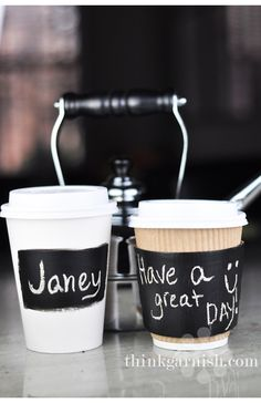 chalk coffee cups- This would be a great idea, to write a cute message on someones cup <3