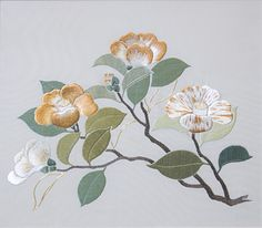 Camellias_400_8845 Peggy Tacey Traditional japanese embroidery