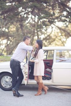 Lavender Wildflower Infused San Francisco Engagement  with a classic car by This Love of Yours Photography