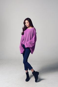 Buy Loose Neck Knit Top at Korean Fashion Store. Find the latest Korean tops and clothes popular this season in South Korea here at our store. Korean Girl Fashion, Korean Fashion Trends, Ulzzang Fashion, Asian Fashion, Womens Fashion, Korean Tops, Fall Outfits, Cute Outfits, Minimalist Fashion