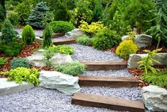 """Traditional Landscape/Yard with Weathered Landscape Boulders, Crushed Granite 3/4"""" Clear, exterior stone floors, Raised beds"""