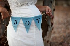 Blue BOY Burlap Banner - Baby Shower or Gender Reveal Party Decoration, Maternity or Newborn Photography Prop, Nursery Decor