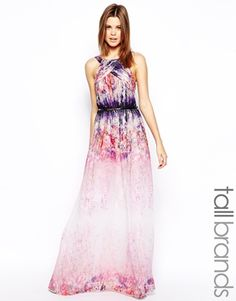 Little Mistress Tall Watercolour Print Maxi - gorgeous! I would totally wear this to an evening summer wedding.