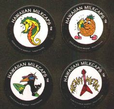 HAWAIIAN MILKCAPS (Worlds of Fun, BENJY, 1993): Die-cut, Printed in Hong Kong, Lot of 4 different, includes Penguin, Seahorse, Pineapple, and Heavy Metal Flying V Guitar. All for $1.25