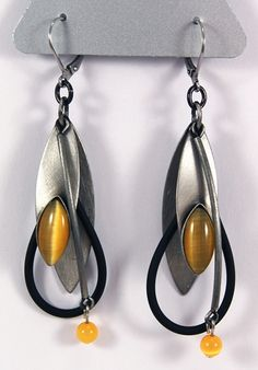 Christophe Poly Earring with yellow & leather - new design that is so refreshing!