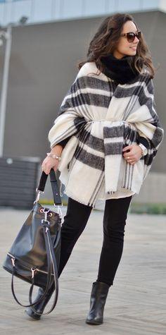 White and black striped poncho/ blanket scarf + black handbag, turtleneck and boots
