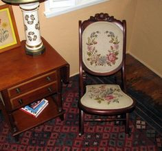 Antique Folding Rocking Chair Collapsible Collignon-like Rocker Petit Point…