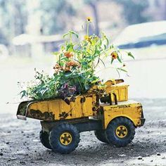 Use salvaged junk as garden planters.