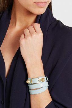 Balenciaga - Giant Triple Tour Textured-leather And Gold-tone Bracelet - Turquoise - Balenciaga Bracelet, Lamb, Color Pop, Italy, Turquoise, Texture, Bracelets, Gold, Leather