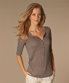 Taupe & lace. Drapy blouse from Paul & Joe: Sister Fibule T-shirt in Taupe.