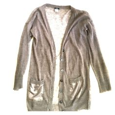 J. Crew cardigan Very fine Sheer linen long sleeve cardigan in taupe , made of 100% linen, pockets 100% silk by J. Crew. Good condition 🚫trades J. Crew Sweaters Cardigans