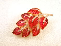 Trifari Invisibly Set Red Rhinestone Leaf by CharmedCollectibles, $450.00