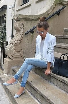 Jeans, a White Blazer, a White Tee, and Flats