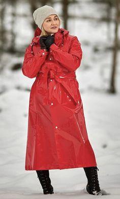 Red Raincoat, Vinyl Raincoat, Rain Bonnet, Country Wear, Raincoats For Women, Rain Wear, Gas Masks, Favorite Color, Women Wear