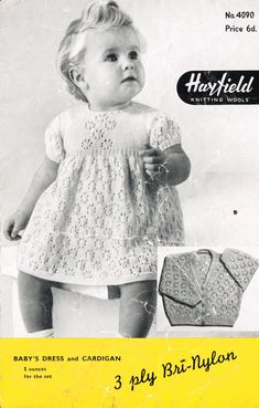 Vintage Baby Clothes Knitting Patterns from The Vintage Knitting Lady Knitting Wool, Vintage Knitting, Baby Knitting, Craft Patterns, Knitting Patterns, Crochet Patterns, Vintage Baby Dresses, Baby Coat, Vintage Crafts