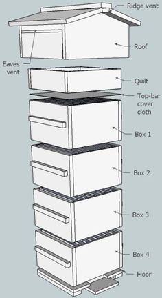 Homestead Survival: Plans for constructing a Beekeeping Box.I have always said I would have bee hives and chicken coops when I get my own house! Hives And Honey, Honey Bees, Top Bar Bee Hive, Bee Hive Plans, Raising Bees, Bee House, Bee Farm, Homestead Survival, Bee Happy