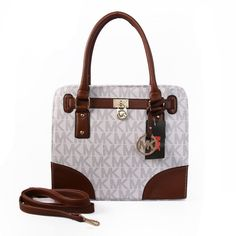 Perfect Michael Kors Hamilton In Signature Medium White Brown Totes, Perfect You