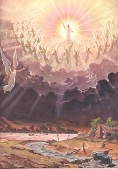 Jesus Christ with angels singing around him while his second coming to Earth from heaven drawing art image free download religious background photos