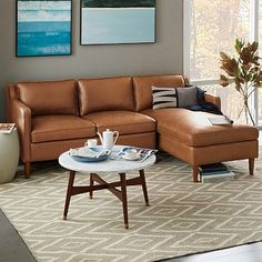 West Elm- Hamilton 2-Piece Leather Chaise Sectional NewOnline Only Buy now and : leather chaise couch - Sectionals, Sofas & Couches