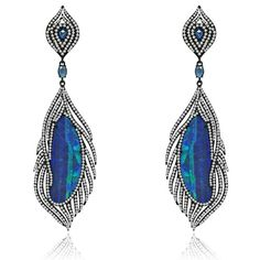 These are Sutra's 18-karat blackened gold and opal earrings with diamonds.