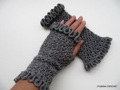 Crochet Lacy Gloves, Gorgeous Gray Fingerless Crochet Gloves With Ruffle Border, Ruffled Crochet Lace Arm Warmers, Lyubava Crochet. $19.00, via Etsy.