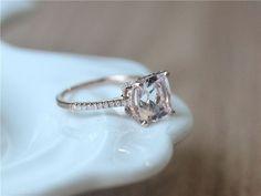 Unique Wedding Ring 8mm Cushion Cut Morganite Ring Engagement #uniqueweddingrings #cushioncutengagementrings #morganiteengagementring #weddingring