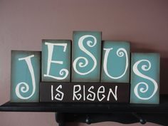 JESUS Easter Wood Block Set by DAWNSPAINTING on Etsy, $24.95
