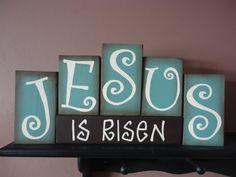 JESUS Easter Wood Block Set by DAWNSPAINTING on Etsy, $24.95
