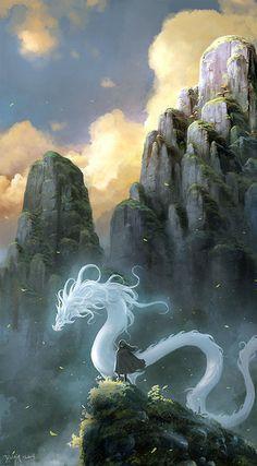 awesomedigitalart: White Dragon by ChaoyuanXu