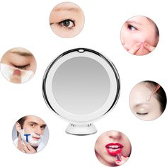 Cusfull LED Magnifying Makeup Mirror Warm Light 360 Degree Rotatable Vanity Mirror for Bedroom/Bathroom/travel