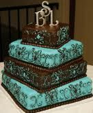 turquoise and brown wedding cakes
