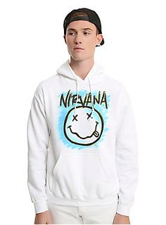 A different take on a classic Nirvana logo. This white pullover hoodie has a graffiti style image of the Nirvana smiley face logo on front.    50% cotton; 50% polyester  Wash cold; dry low  Imported  Listed in men's sizes