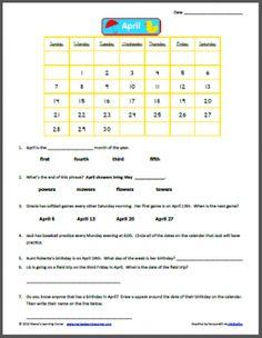 April 2013 Calendar Worksheet - 1st-2nd graders