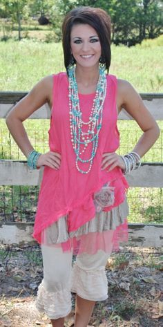 Montana Sky Coral and Brown Tunic  Price: $64.95  Size: Small, Medium, Large, XL, 1XL, 2XL  http://www.giddyupglamouronline.com/catalog.php?item=5807
