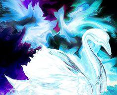 White Swan Splashdown by Abstract Angel Artist Stephen K Alien Artist, Real Genius, White Swan, Digital Art, Angel, Wall Art, Abstract, Artwork, Summary