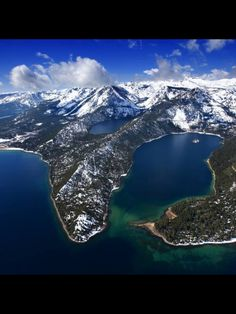 R-L: Emerald Bay, Lake Tahoe; Cascade Lake (private) -- horseback riding just below it; and Fallen Leaf Lake far left. Camping on the peninsula to the left, and Bliss State Park on the peninsula to the right. This is all California. Emerald Bay Lake Tahoe, Emerald Lake, South Lake Tahoe, Places To Travel, Places To See, Travel Destinations, Lac Tahoe, San Diego, Reno Tahoe