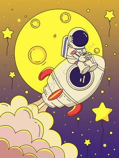Rocket Cartoon, Astronaut Cartoon, Astronaut Drawing, Moon Cartoon, Art And Illustration, Astronaut Illustration, Space Drawings, Art Drawings, Spaceship Drawing
