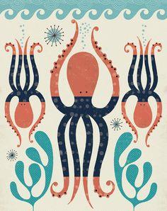 Octopus Art Print, Childrens Art Print, Nursery Decor, Nautical Theme